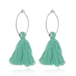 Turkis tassel hoops